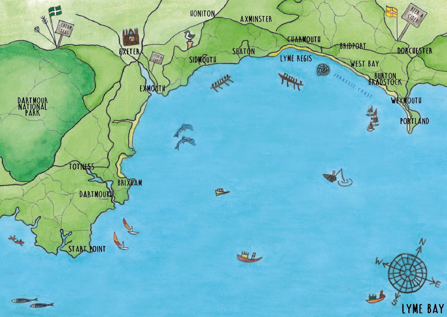 Lyme Bay Map - Tabitha Stead